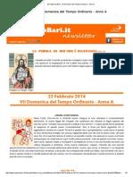 23 Febbraio 2014 - VII Domenica Del Tempo Ordinario - Anno A