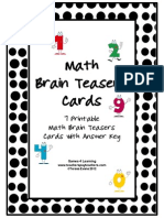 Math Problems and Math Brainteasers Freebie