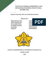 ANALISIS PENGGUNAAN BAHASA INDONESIA YANG BAIK DAN BENAR PADA SPANDUK, PAPAN NAMA, BALIHO, DLL.