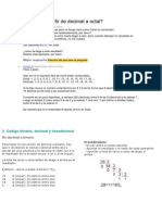 Cómo convertir de decimal a octal