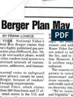 """Berger Plan May Yield Computer Lists - Privacy Abuses Feared"""