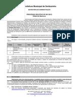 02 - Edital de Abertura de Inscrições para o Processo Seletivo nº 001 - 2013  (16 de Janeiro de 2013)