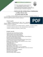 AALC - UNLP - X Jornadas de Literatura Comparada - Segunda Circular[1]