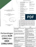Perbandingan Antara KLSR (1961) Dan KBSR