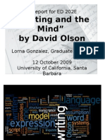 """Report on Olson's """"Writing and the Mind"""""""