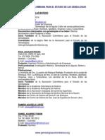Listado de Genealogistas Asociacion Colombiana Para El Estudio de Las Genealogias