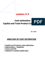 Lecture # 5 Cost Estimation I