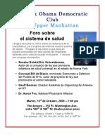 Health Care Forum Flyer 10-13-09  ESPANOL