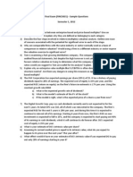 Sample Exam Questions (FINC3015, S1, 2012)