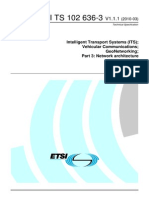 Intelligent Transport Systems (ITS); Cooperative ITS (C-ITS); Release 1  Vehicular Communications - GeoNetworking - Part 3 Network Architecture