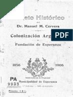 Manuel Cervera. Colonización Argentina. Fundacion de Esperanza