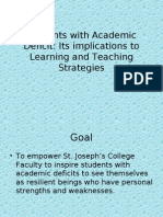 Assessment and Identification of Students With Academic Deficit