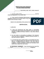 Verification & Certification of Non Forum Shopping