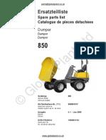Lifton Neuson Wacker 850 Dumper Parts BOOK