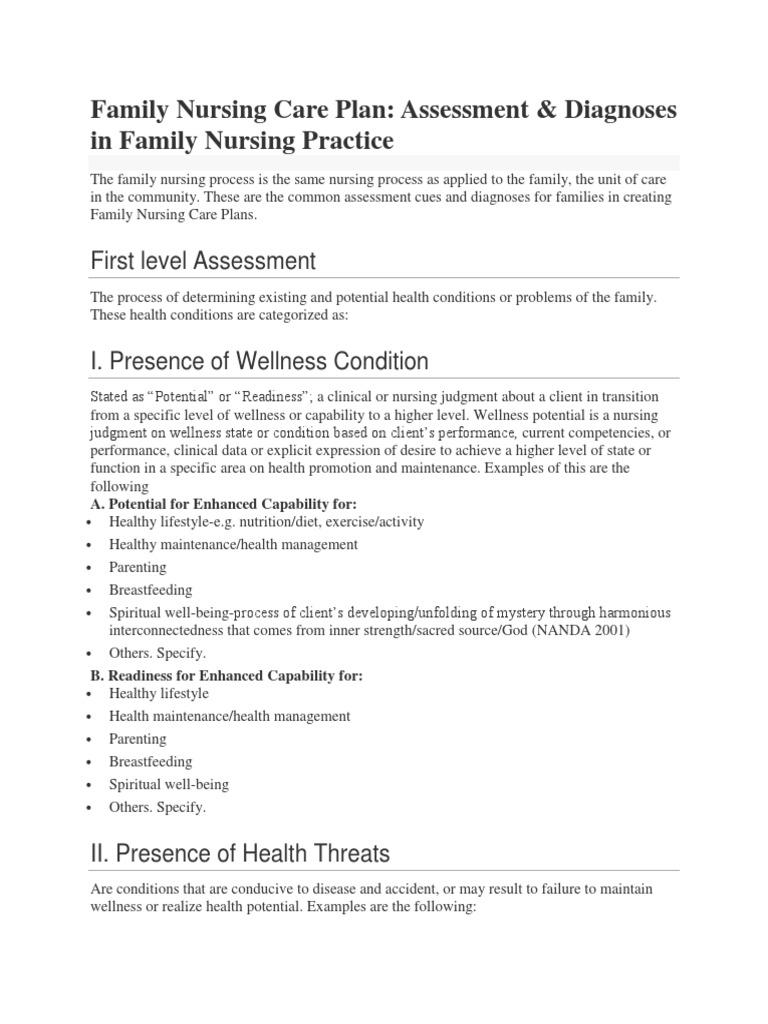 Family Nursing Care Plan 1st And 2nd Level Assessment Breastfeeding Sanitation
