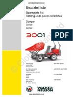 Lifton Neuson Wacker 3001 Dumper Parts BOOK