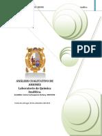 ANÁLISIS CUALITATIVO DE ANIONES                                           Laboratorio de Química Analítica.docx