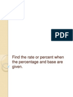 Find the Rate or Percent When the Percentage