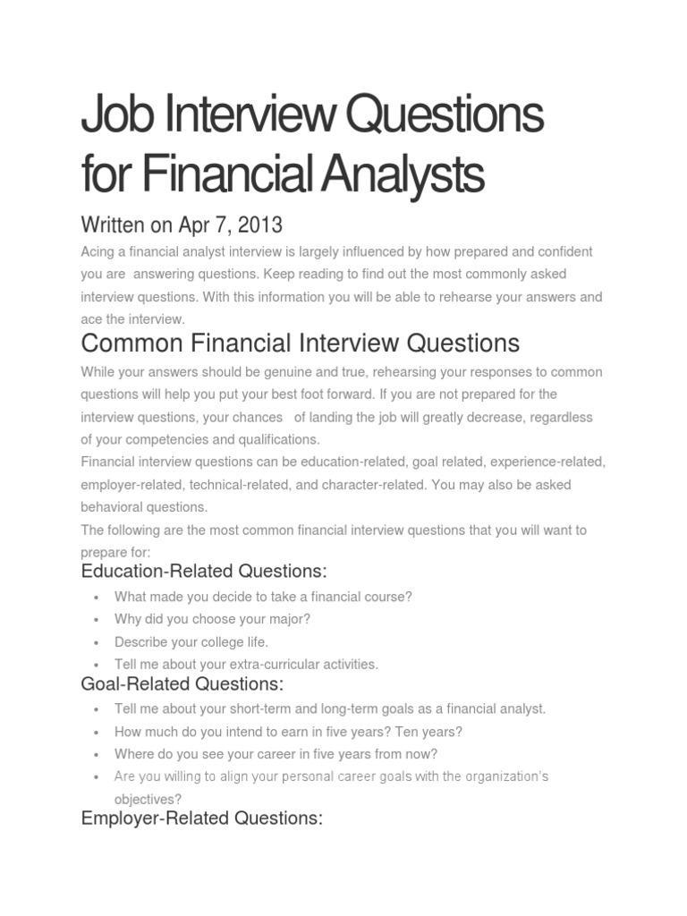 job interview questions for financial analysts job interview competence human resources