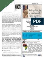 St. Augustine Catholic Church Sunday Bulletin, February 23, 2014