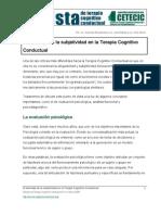El Abordaje de La Subjetividad en La Terapia Cognitivo Conductual