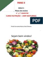 Aula 1- PANS II Apresentação e Indicadores de saúde das populações relacionados à Alimentação e à Nutrição da Mulher e da criança