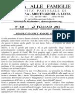 Lettera alle Famiglie - 23 febbraio 2014