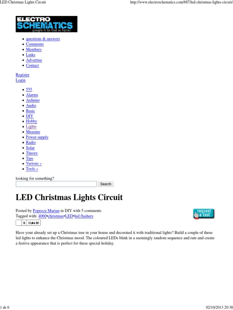 Led Christmas Lights Circuit Electronic Circuits Hertz This Is Easy Flasher It Use Ic 555 Drive Display