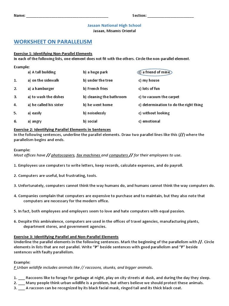 Parallelism Worksheet: Worksheet on Parallelism   Raccoon,