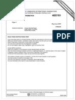 Additional Mathematics 2004 June Paper 1