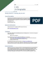 Geography 101 Syllabus