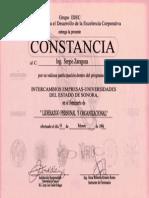 Constancia Por Participación Dentro Del Programa de Grupo IDEC Seminario Liderazgo Personal y Organizacional 18 de Febrero de 1994