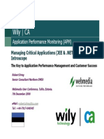 WILY, Managing Critical Applications With Wily Introscope, Robert Dring