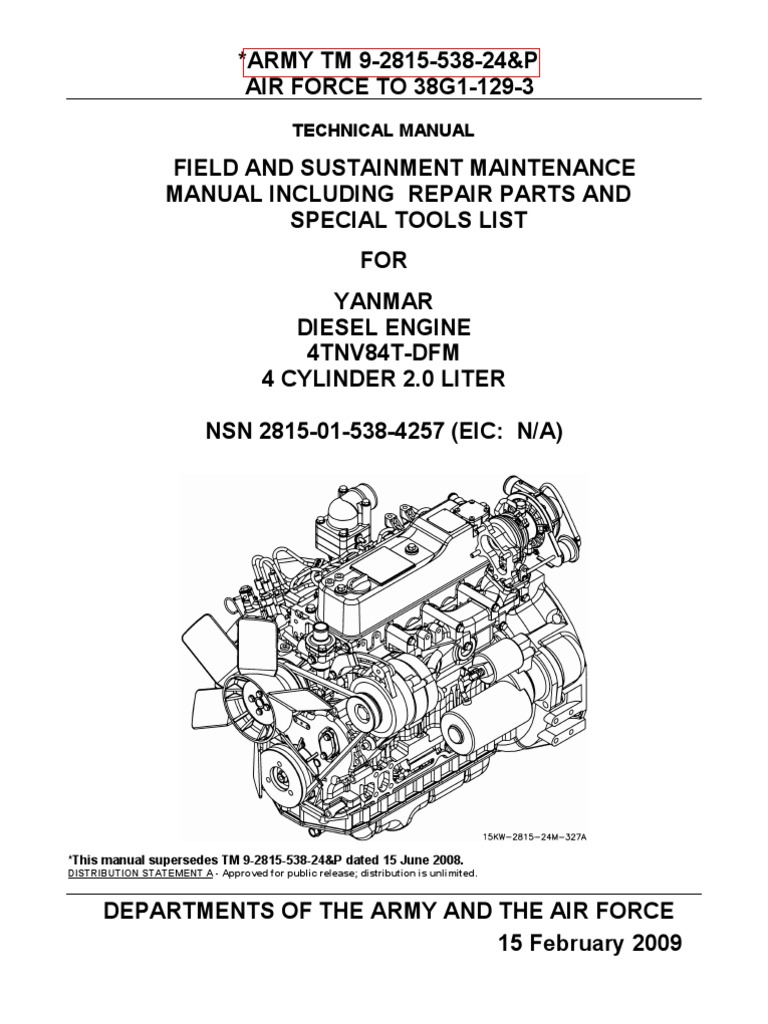 TM 9-2815-583-24P YANMAR DIESEL ENGINE 4TNV84T-DFM NSN 2815-01-538-4257 |  Internal Combustion Engine | Fuel Injection