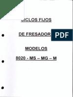 CICLOS FIJOS FRESADORA 8020