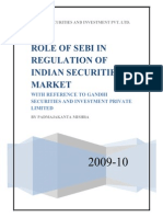58374900 Role of SEBI in Regulation of Indian Capital Market