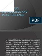 Secondary Metabolites and Plant Defense