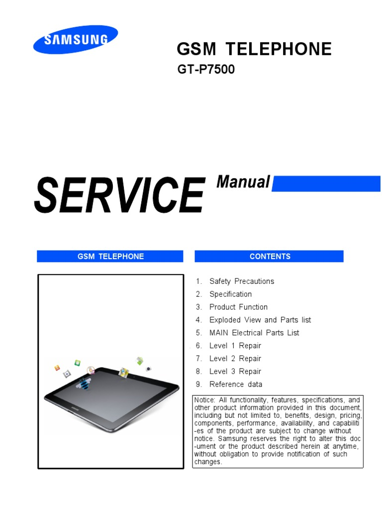 Gsm bio: samsung galaxy tab 10. 1 gt-p7500 service manual + level.