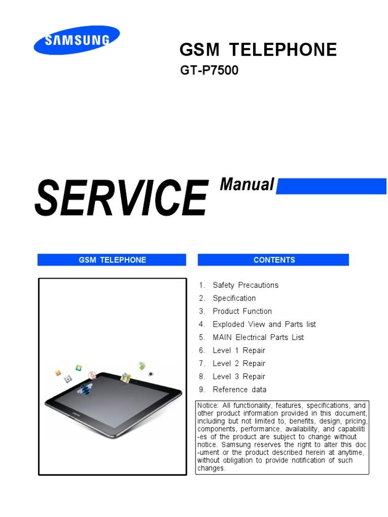 Samsung Gt-p7500 Galaxy Tab 10 1 3g Service Manual | Electrostatic