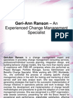Geri-Ann Ranson – An Experienced Change Management Specialist