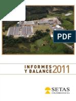 Informes y Balance 2011 Setas Colombianas