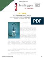 Heidegger en Castellano - La Cosa
