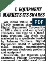Digital Equipment's Public Offering