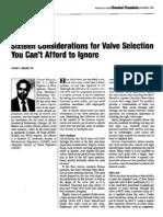 Sixteen Considerations Valve