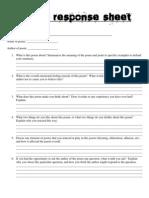 Poetry Response Sheet
