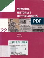 Vilar Pierre - Memoria Historia E Historiadores