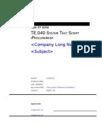TE040 iProcurement ... Test Script on Oracle iProcurement