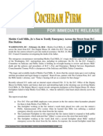 2014-02-24 Medric Cecil Mills Jr.'s Son to Testify - The Cochran Firm Press Release