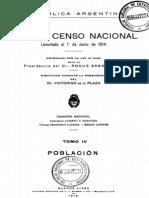 Censo de Argentina de 1914. Tomo 4.