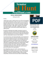 Special Announcement from Senator Neal Hunt